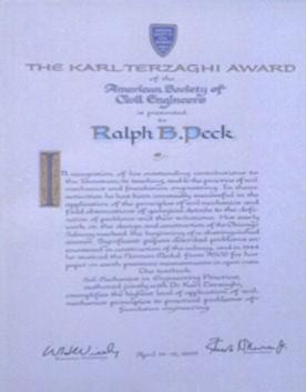 1969 TERZAGHI AWARD The Karl Terzaghi Award of the American Society of Civil Engineers awarded to Ralph Peck