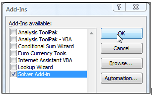 3. In the Add-Ins available box, select the Solver Add-in check box, and then click OK.