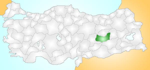 Bingöl in the east, Malatya in the west, Diyarbakır in the south, and Tunceli