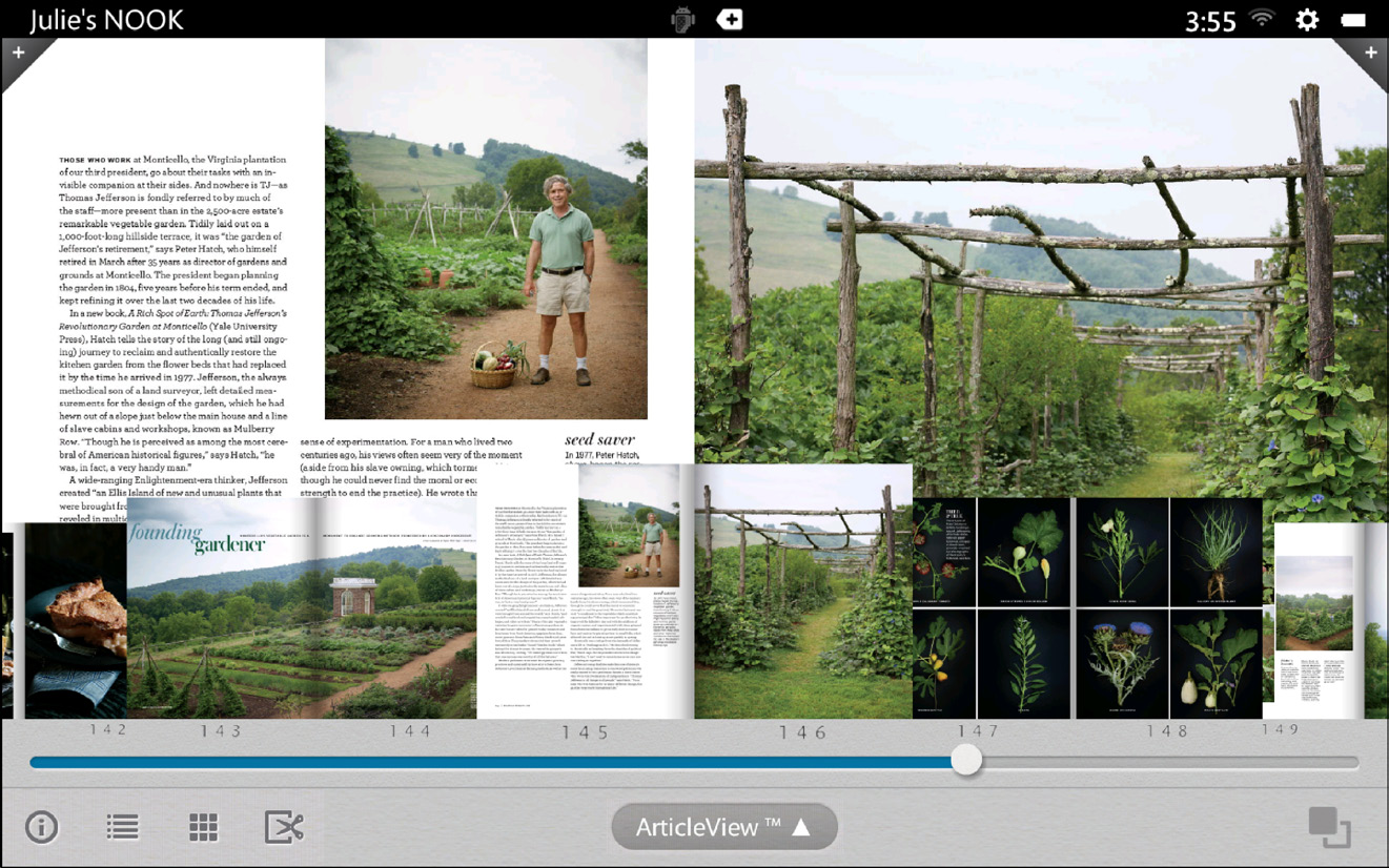 An example of Magazine View with the Reader Tools open, displaying thumbnails and a slider for navigating from page to page.