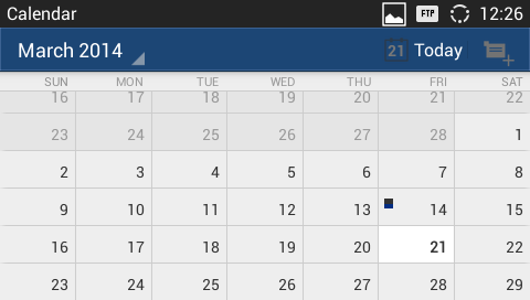 Figure 92: View Calendar When viewing the calendar by month, the blue mark on the date indicates there is event scheduled on that day.