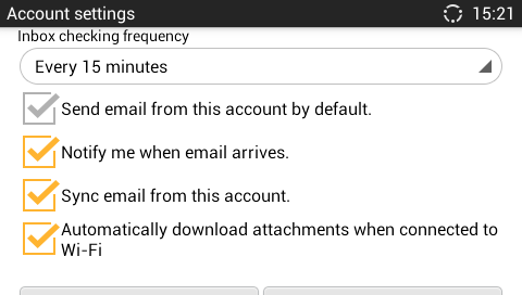 Figure 101: Email Account Settings 5.