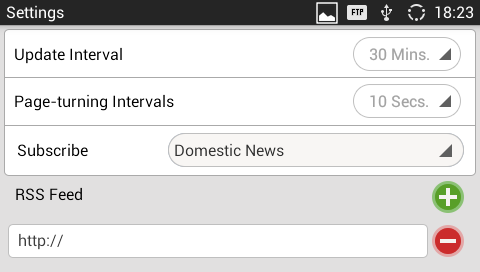 RSS Feed: Tap on the URL field on the bottom of the screen and enter the link of a new RSS feed. Then tap on icon to add it to the category of the RSS feed.