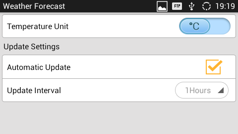 """Settings"": Tap on configure temperature unit and update interval time."