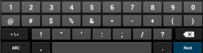 Figure 21: GXV3240 Onscreen Keyboard - English Keyboard To switch input between lowercase and uppercase, tap on (lowercase) or (uppercase).