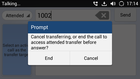 Figure 45: Attended Transfer - Transferring 5. After transfer target answers the call, the following screen will be shown up.