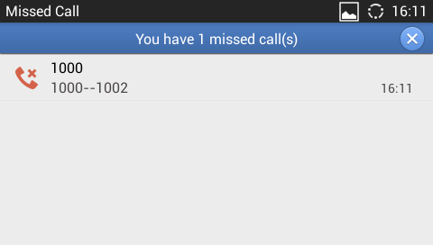MISSED CALL When there is a missed call, the LCD will show missed call screen instead of regular idle screen.