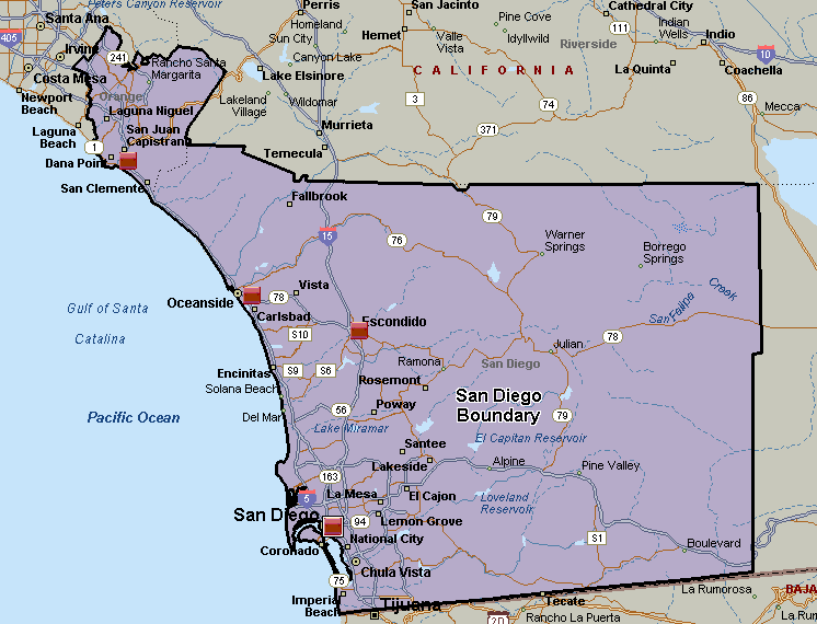 Figure 5-3 Major Population Centers This boundary includes all the major cities of the San Diego area, which