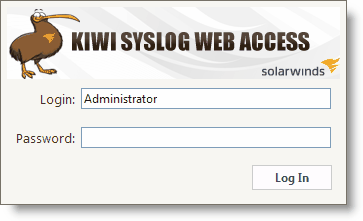 3 The default (Administrator) account is configured during product installation. To login to Kiwi Syslog Web Access, supply the password created during the installation process.