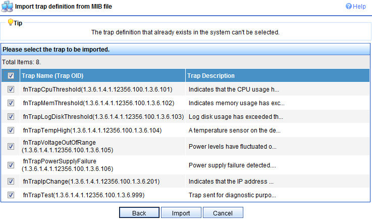 Select Import trap definition from MIB file Click FORTINET-CORE-MIB