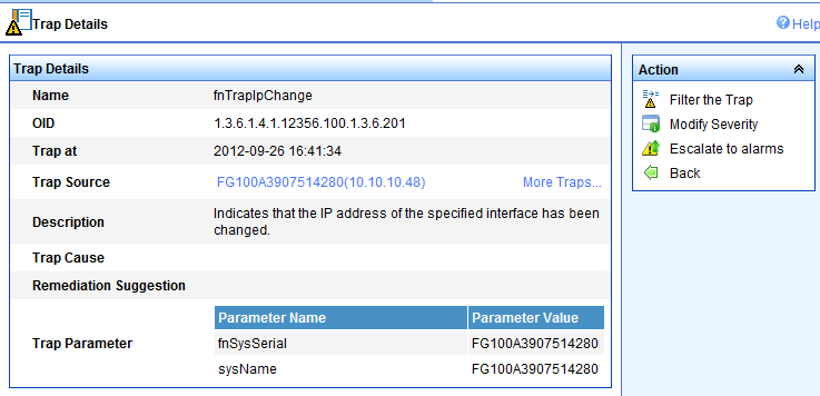 Generate some event such as IP address change and Browse Traps Note that imc has not upgraded SNMP trap to Alarm since