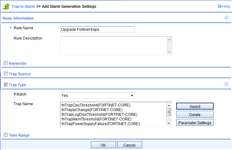 Select all Fortinet traps and click OK Add some rule