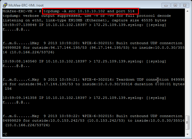 Here we confirm that we are indeed receiving syslog messages from data source 10.10.10.102.