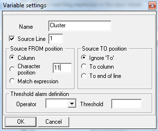 e. Select the column option in the FROM frame, and set it to 11 - this tells the watcher to extract the variable from column 11 within the selected line.