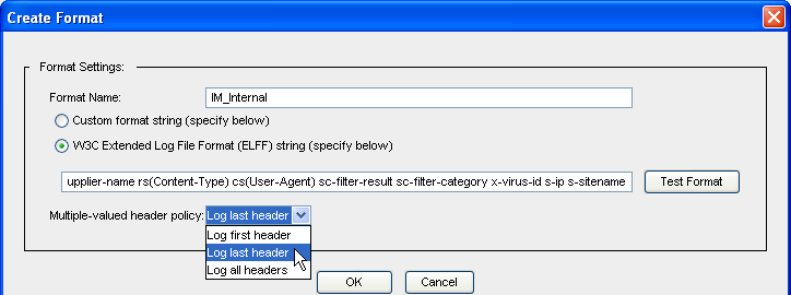Volume 8: Access Logging To create or edit the log format: 1. Select Configuration > Access Logging > Formats. 2. Click New (or highlight a format and click Edit). The Create Format dialog displays.