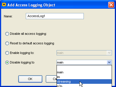 Volume 8: Access Logging 2a 2b 2. Add a Source object: a. Right click on the item in the Source column; select Set. b. Click New; select Client IP Address/Subnet. 3.