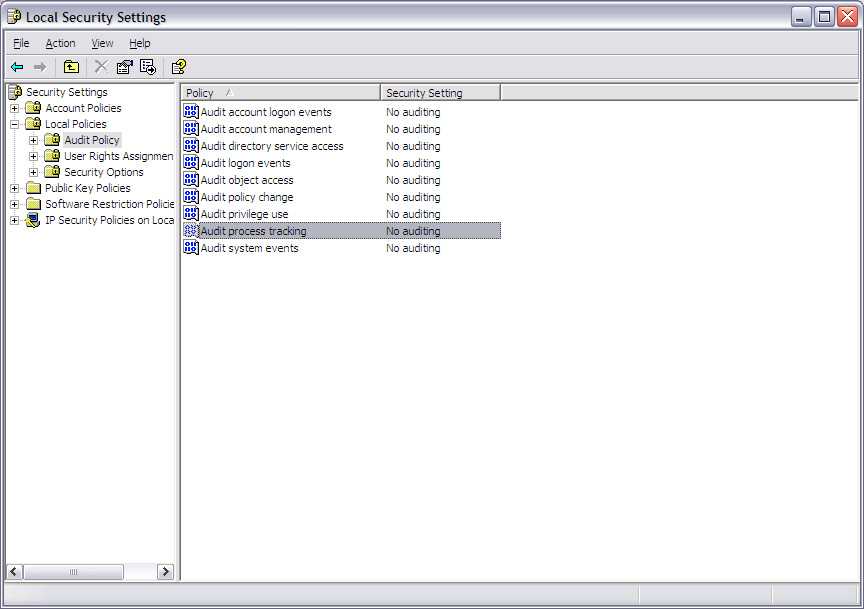 WinXP Audit Configuration 49 To edit audit policies on