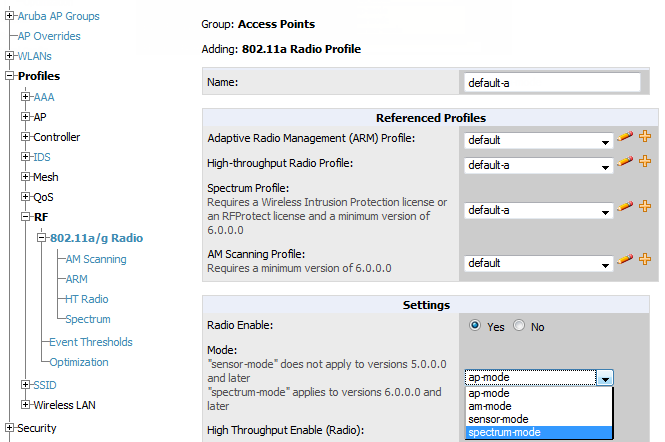 Individual APs running temporarily in Spectrum mode while part of an Aruba AP Group set to ap-mode Controller-level Spectrum Overrides (an alternative to creating new Aruba AP groups or new radio