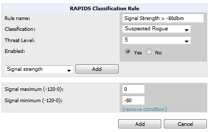 Figure 119 Classification Rule Page Fill in the settings described in Table 100 then select an option from the drop down menu.