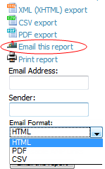 Emailing Reports in General Email Applications Perform these steps to set up email distribution of reports in AMP All reports contain a link to export the report to an XML, CSV, or PDF file.