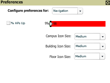 Figure 216 QuickView Preferences Page Illustration (Navigation preferences selected) % of APs Up for the last 24 hours for normal (green) and excessive (red) Icon Size for campus, building, and floor.