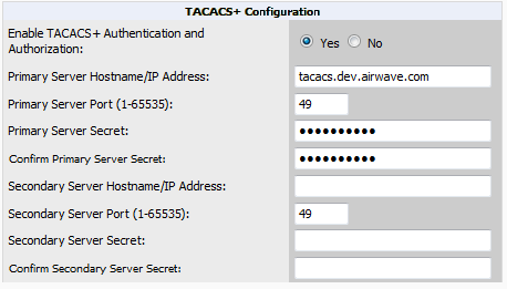 Figure 24 AMP Setup > Authentication Page Illustration for TACACS+ 2. Select No to disable or Yes to enable TACACS+ authentication. If you select Yes, several new fields appear.