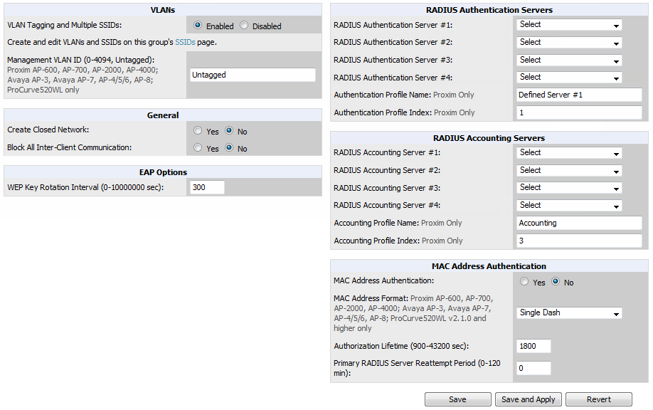 Figure 41 Groups > Security Page Illustration Table 54: Groups > Security Page Fields and Default Values Setting Default Description VLANs Section VLAN Tagging and Multiple SSIDs Management VLAN ID
