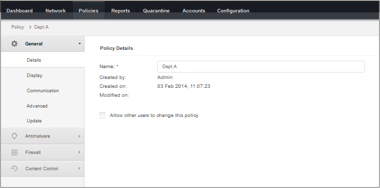 5. Click Save to save changes and apply them to the target computers. To leave the policy page without saving changes, click Cancel. To learn how to work with policies, refer to Managing Policies (p.