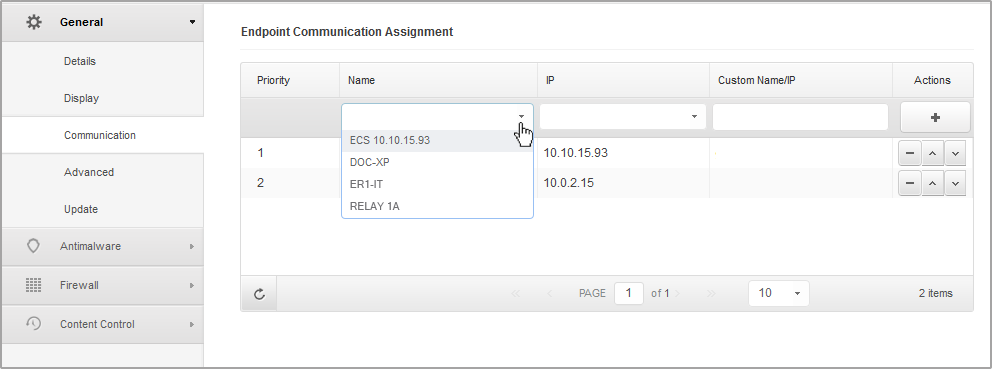 To assign communication servers to target computers: 1. In the Endpoint Communication Assignment table, click the Name field. The list of detected communication servers is displayed. 2.