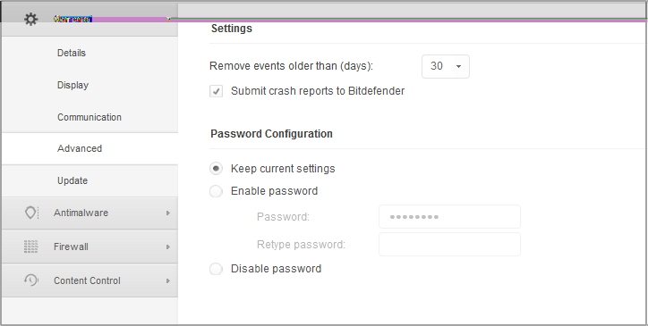 Computer Policies - Advanced settings Remove events older than (days).