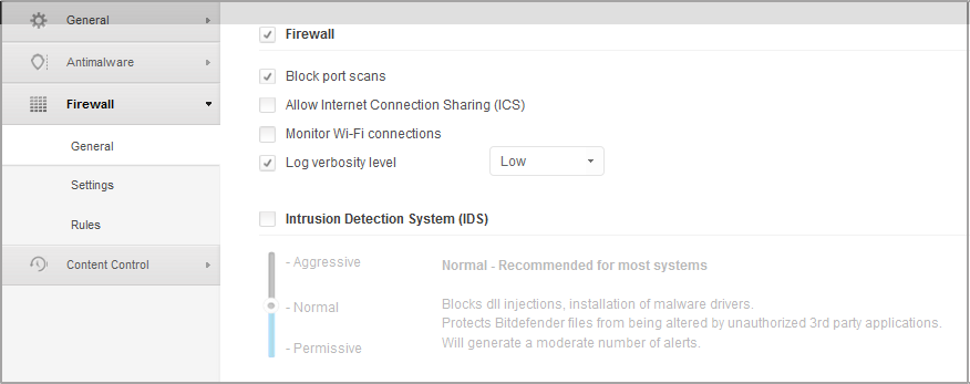 Computer Policies - Firewall General Settings Firewall. Use the checkbox to turn Firewall on or off. If you turn off firewall protection, computers will be vulnerable to network and Internet attacks.
