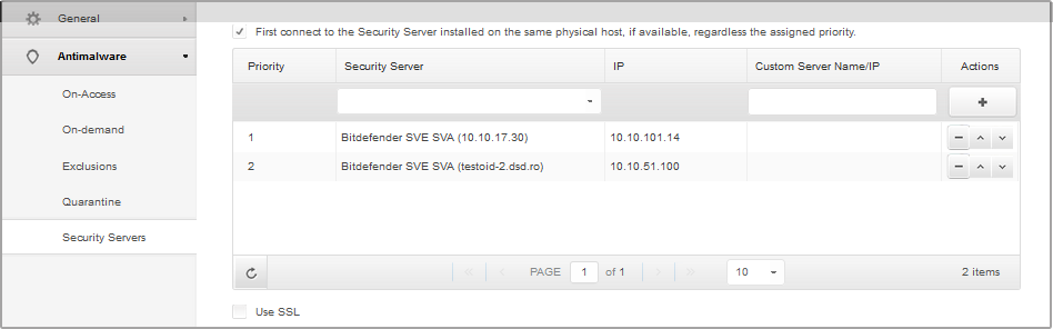 Virtual Machines Policies - Security Servers You can select several Security Servers and configure their priority.