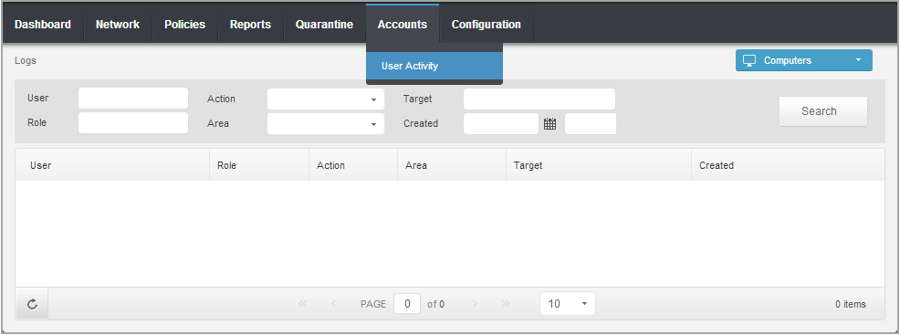 14. User Activity Log Control Center logs all the operations and actions performed by users.