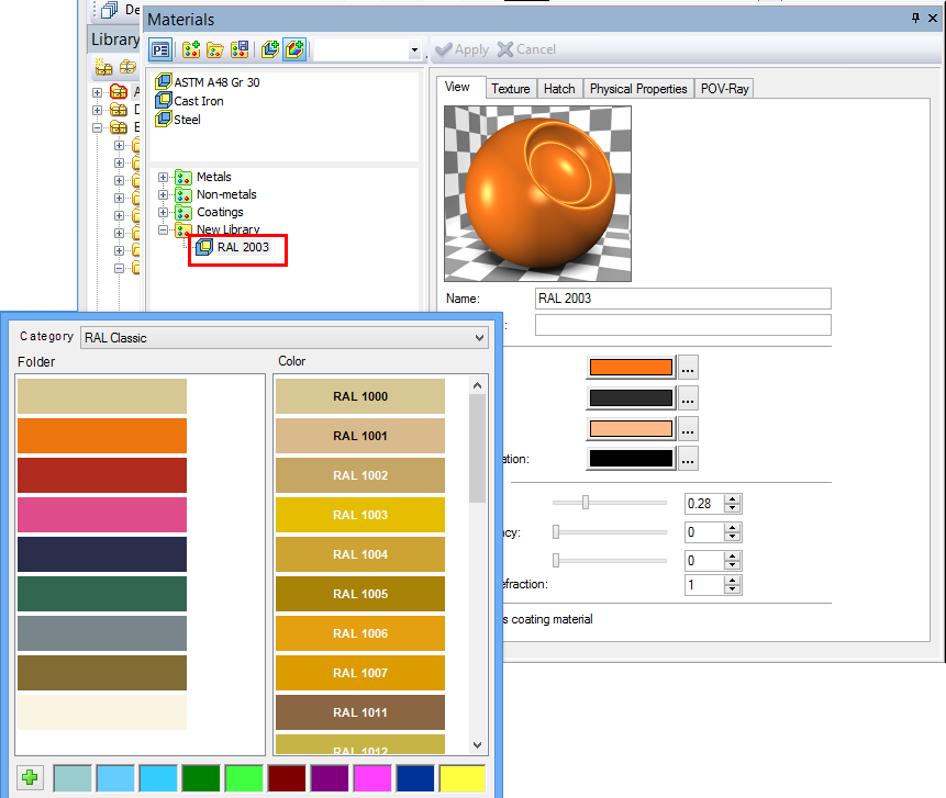 Creating Material Based on Color New option was added to material libraries management dialog - «Create color-based material».