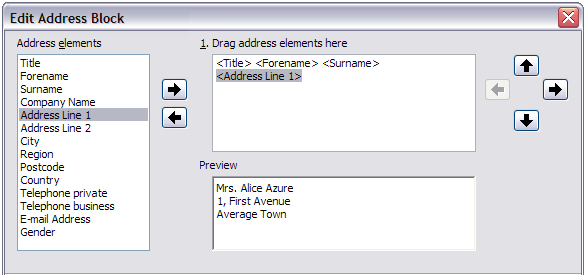 Figure 27: Select address block 3) In the Edit Address Block dialog, you can add or delete address elements using the arrow buttons on the left.