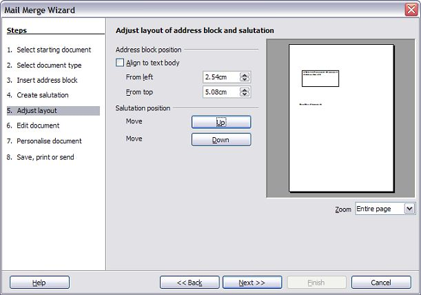 Step 5: Adjust layout In step 5, you can adjust the position of the address block and salutation on the page.