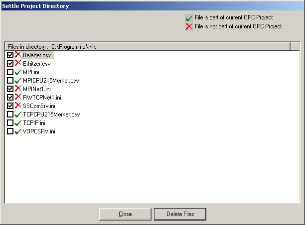 "Manual OPC-Server OPC-editor Settle project directory If you add networks and stations while projecting and you delete them again, data files not used anymore will be ""collected"" in directory \Ini"