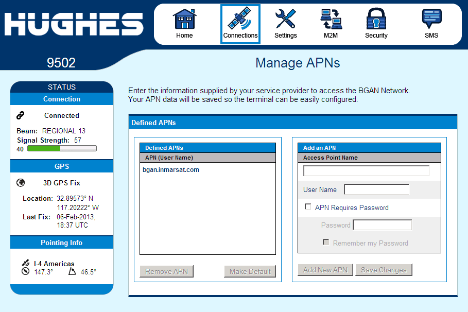 Manage APNs Page The Manage APNs page under the Connections tab allows the user to view the available APNs and define new ones, e.g. if the correct APN is not configured in the SIM.