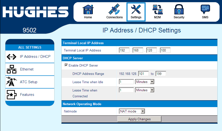 Settings Tab The settings tab has the following configuration pages: IP Address/DHCP Settings The IP settings page under the Settings tab includes the following fields: Terminal Local IP address