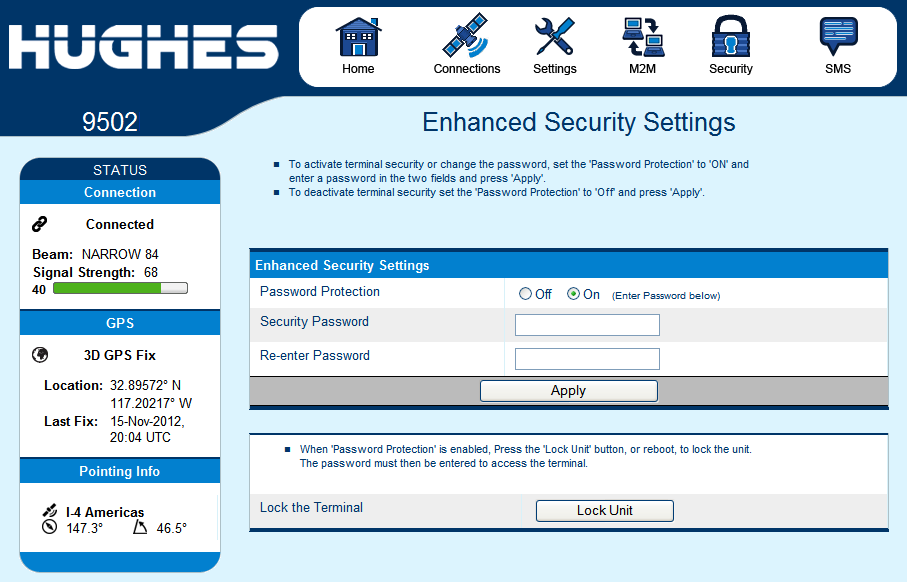 Figure 2-12 Enhanced Security Page Link Enhanced Security Settings Page The Enhanced Security Page (in release 5.9.3.1 and higher) is used to configure local security for the unit.