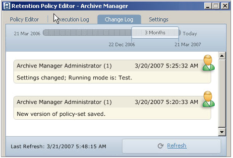 Quest Archive Manager Change Log The administrator or auditor can review the changes made to the retention policy.