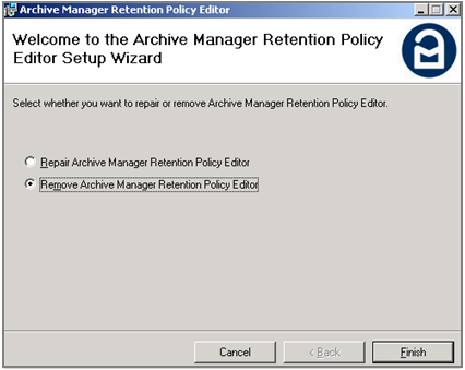 Retention Policy Editor Functions Removing the Archive Manager Retention Policy Editor To remove the Archive Manager Retention Policy Editor, run the RetentionPolicyEditor.msi file.