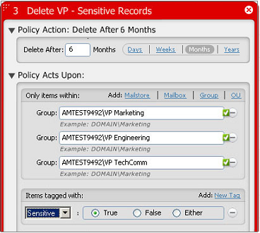 "Quest Archive Manager To create the policy to delete records tagged ""Sensitive"" from the VPs' mailboxes after 6 months, perform the following: 1."