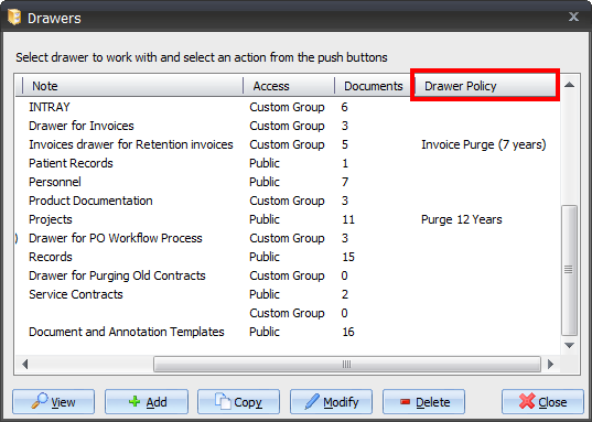 Configuring Retention 6. The existing document index fields for the current drawer are shown in the Field column.