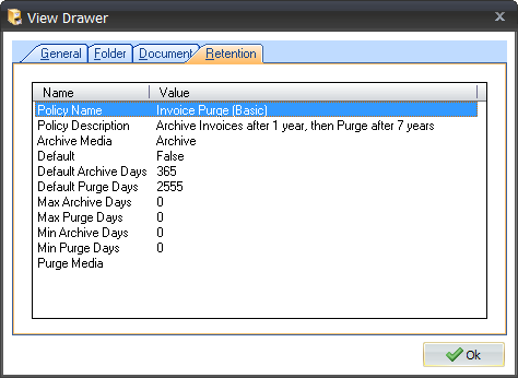 The Retention Feature in Document Manager 6.5 Viewing Retention Information for a Drawer If you want to view the Retention Information for a drawer, you can do so in the drawer properties.