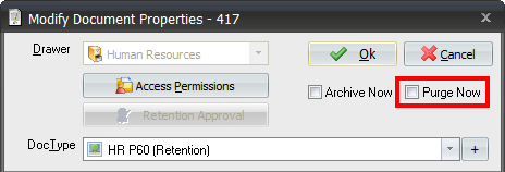 The Retention Feature in Document Manager When Archive Now is selected, the associated policy is checked to see if the Minimum and Maximum Archive Period settings are defined.