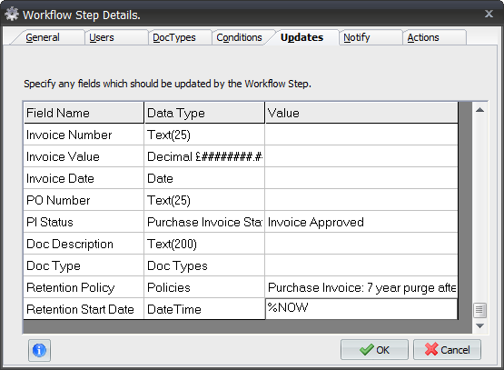 Policy Examples 2. Expand the Invoice Approval Workflow Process and select the Workflow Step that changes a document s status to Approved : 3. Click Modify. 4.