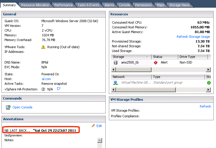 Back up virtual machines Viewing NetBackup activity in vsphere Client 121 6 To see the date and time of the last backup for a particular virtual machine, select the virtual machine and click the