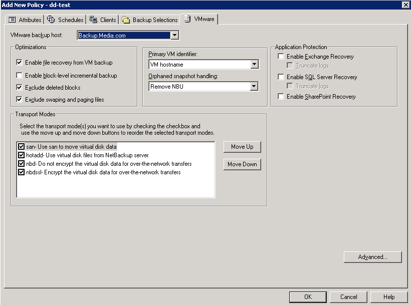 50 Configure NetBackup policies for VMware Configuring a VMware policy from the Policies utility 6 Click the VMware tab. Use this dialog to set VMware-related options.