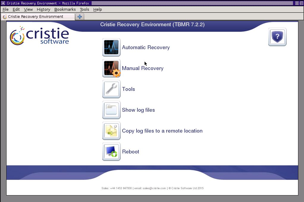 14 Cristie Bare Machine Recovery You will then see the Recovery Console main menu: Cristie